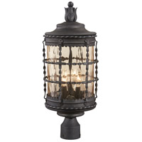 Mallorca 3 Light 23 inch Spanish Iron Outdoor Post Mount Lantern