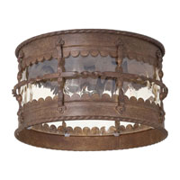 The Great Outdoors by Minka Mallorca 3 Light Flushmount in Vintage Rust Powder Coat 8889-A61
