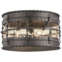 Mallorca 3 Light 13 inch Spanish Iron Outdoor Flush Mount Lantern