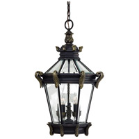 Stratford Hall 5 Light 19 inch Heritage/Gold Outdoor Chain Hung Lantern