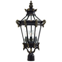 Stratford Hall 4 Light 28 inch Heritage with Gold Highlights Outdoor Post Mount Lantern, The Great Outdoors