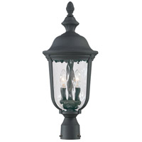 Ardmore 2 Light 24 inch Black Post Light in Mouth Blown Clear Hammered, Incandescent
