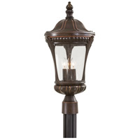 Kent Place 3 Light 22 inch Architectural Bronze w/Copper Highlights Post Light in Incandescent