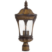 Kent Place 3 Light 22 inch Prussian Gold Post Light in Incandescent