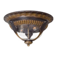 Kent Place 2 Light 13 inch Prussian Gold Outdoor Flushmount