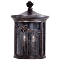 The Great Outdoors by Minka Abbey Lane 2 Light Pocket Lantern in Iron Oxide Finish w/Mouth Blown Seeded Glass 9150-357