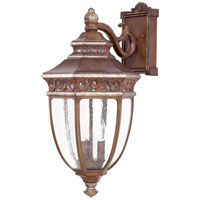 The Great Outdoors by Minka Castle Ridge 3 Light Outdoor Wall in Mossoro Walnut w/Silver Highlights 9233-161