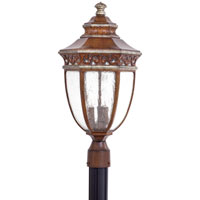 The Great Outdoors by Minka Castle Ridge 3 Light Post Light in Mossoro Walnut w/Silver Highlights 9236-161