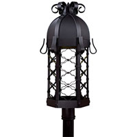 Montalbo 1 Light 28 inch Black Outdoor Post Mount Lantern in No Glass