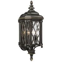 Bexley Manor 4 Light 25 inch Black/Gold Outdoor Wall Mount Lantern