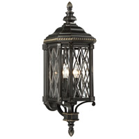 Bexley Manor 4 Light 32 inch Black/Gold Outdoor Wall Mount Lantern