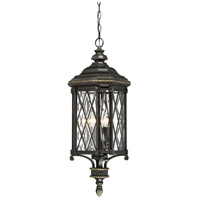 Bexley Manor 4 Light 11 inch Black/Gold Outdoor Chain Hung Lantern