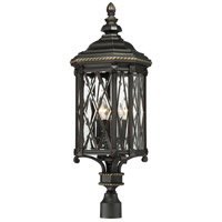 The Great Outdoors by Minka-Lavery Bexley Manor 4 Light Outdoor Post Lantern in Black W/Gold 9326-585