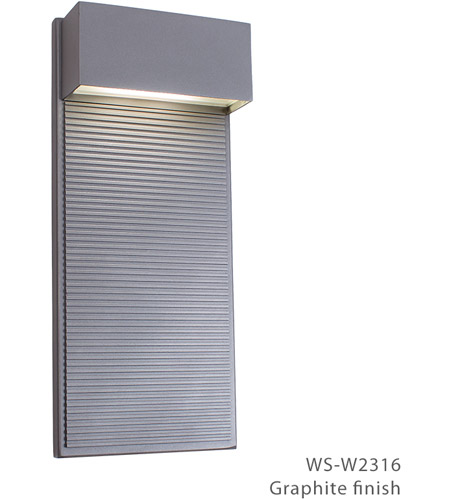Modern Forms WS-W2316-GH Hiline LED 16 inch Graphite Outdoor Wall Light photo