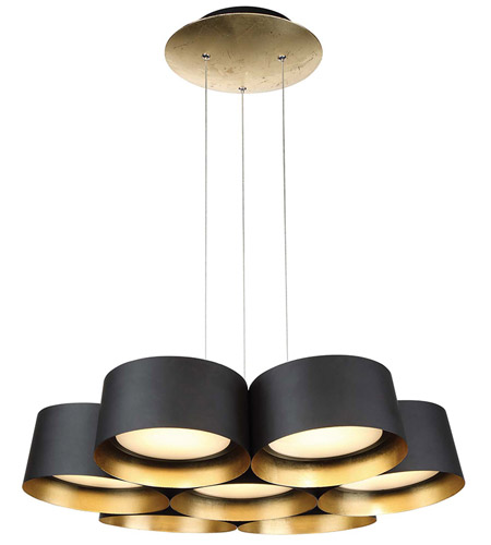 All White With Gold Leaf Ceiling And Degournay Coco: Modern Forms PD-52724-GL Marimba LED 24 Inch Gold Leaf