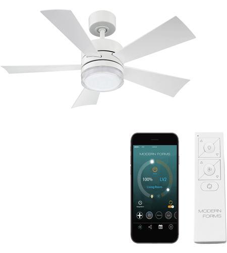 Modern Forms Fr W1801 42l Mw Wynd 42 Inch Matte White Indoor Outdoor Smart Ceiling Fan