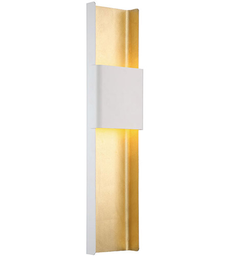 Modern Forms Ws 40832 Wt Gl Tribeca Led 8 Inch White Gold Leaf Ada Wall Sconce Light