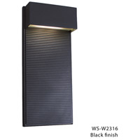 Hiline LED 16 inch Black Outdoor Wall Light