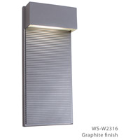 Hiline LED 16 inch Graphite Outdoor Wall Light