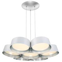 Marimba LED 34 inch Silver Leaf Chandelier Ceiling Light