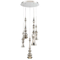 Hookah LED 17 inch Polished Nickel Chandelier Ceiling Light in 17in., Round, 5