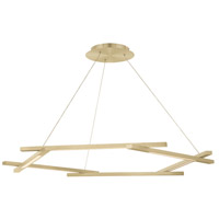 Metric LED 8 inch Brushed Brass Pendant Ceiling Light in 28in.