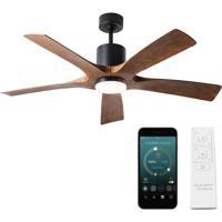 Modern Forms FR-W1811-5-MB/DK Aviator 54 inch Matte Black Distressed Koa Ceiling Fan, Smart Ceiling Fan