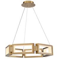 Mies LED 29 inch Aged Brass Chandelier Ceiling Light