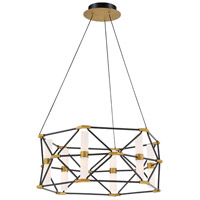 Modern Forms PD-73926-BK/AB Labyrinth 6 Light 26 inch Black Aged Brass Pendant Ceiling Light