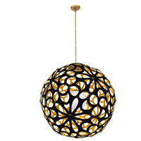 Modern Forms PD-89924-BK/GO-AB Groovy LED 24 inch Black-Gold Aged Brass Pendant Ceiling Light in 24in., Black and Gold