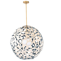 Modern Forms PD-89924-CM/BL-AB Groovy LED 24 inch Cream-Blue Aged Brass Pendant Ceiling Light in 24in., Cream and Blue