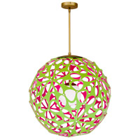 Modern Forms PD-89924-GN/PK-AB Groovy LED 24 inch Green-Pink Aged Brass Pendant Ceiling Light in 24in., Green and Pink