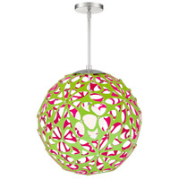 Modern Forms PD-89924-GN/PK-BN Groovy LED 24 inch Green-Pink Brushed Nickel Pendant Ceiling Light in 24in. Green and Pink