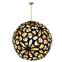Modern Forms PD-89936-BK/GO-AB Groovy LED 36 inch Black-Gold Aged Brass Pendant Ceiling Light in 36in., Black and Gold