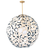 Modern Forms PD-89936-CM/BL-AB Groovy LED 36 inch Cream-Blue Aged Brass Pendant Ceiling Light in 36in., Cream and Blue