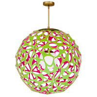 Modern Forms PD-89936-GN/PK-AB Groovy LED 36 inch Green-Pink Aged Brass Pendant Ceiling Light in 36in., Green and Pink