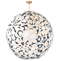 Modern Forms PD-89948-CM/BL-AB Groovy LED 36 inch Cream-Blue Aged Brass Pendant Ceiling Light in 48in., Cream and Blue