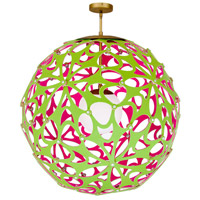 Modern Forms PD-89948-GN/PK-AB Groovy LED 36 inch Green-Pink Aged Brass Pendant Ceiling Light in 48in., Green and Pink