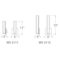 Modern Forms WS-3115-35-CH Vogue 1 Light 3 inch Chrome ADA Wall Sconce Wall Light alternative photo thumbnail
