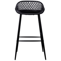 Piazza 37 inch Black Outdoor Bar Stool, Set of 2