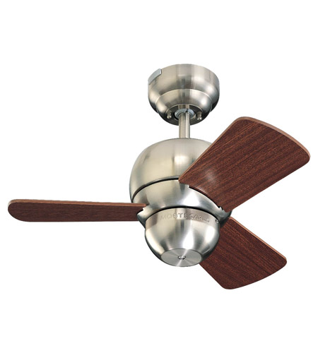 Monte Carlo Fans 3TF24BS Micro 24 24 inch Brushed Steel with Mahogany Blades Ceiling Fan photo