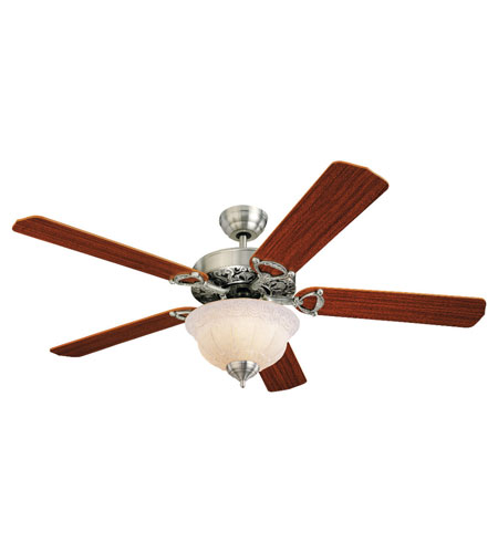Monte Carlo Fans 5OR52EPD-L Ornate Elite 52 inch English Pewter with Mahogany Blades Ceiling Fan in Gray Tea Stain, AC photo