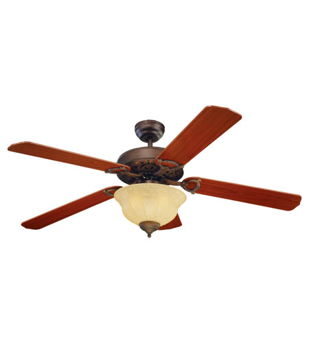 Monte Carlo Fans 5OR52RBD-L Ornate Elite 52 inch Roman Bronze with Teak Blades Ceiling Fan in Tea Stain Mission photo