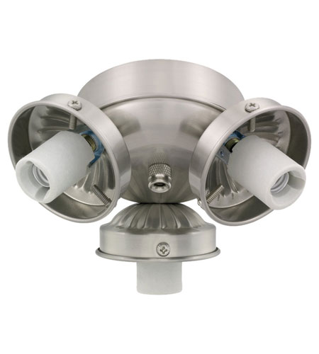 Monte Carlo Fans H3BS-L Signature 3 Light Incandescent Brushed Steel Light Fitter, Shades not included photo