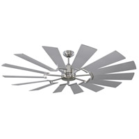 Prairie 62 inch Brushed Steel with Washed Oak Blades Outdoor Ceiling Fan