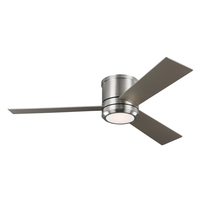 Monte Carlo Fans 3CLMR56BSD-V1 Clarity Max 56 inch Brushed Steel with American Walnut/Silver Blades Indoor-Outdoor Ceiling Fan