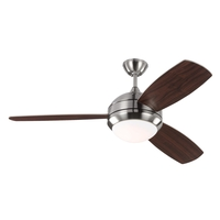 Monte Carlo Fans 3DIR52BSD-V1 Discus Trio 52 inch Brushed Steel with Silver/American Walnut Blades Indoor-Outdoor Ceiling Fan