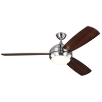 Monte Carlo Fans 3DIR58BSD-V1 Discus Trio Max 58 inch Brushed Steel with Silver/American Walnut Blades Indoor-Outdoor Ceiling Fan