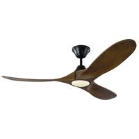 Monte Carlo Fans 3MAVR52BKD Maverick Ii Led 52 inch Matte Black with Dark Walnut Blades Indoor Ceiling Fan