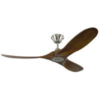 Monte Carlo Fans 3MAVR52BS Maverick II 52 inch Brushed Steel with Dark Walnut Blades Outdoor Ceiling Fan